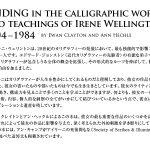 FINDINGinthecalligraphicworkandteachingsofIreneWellington1904–1984